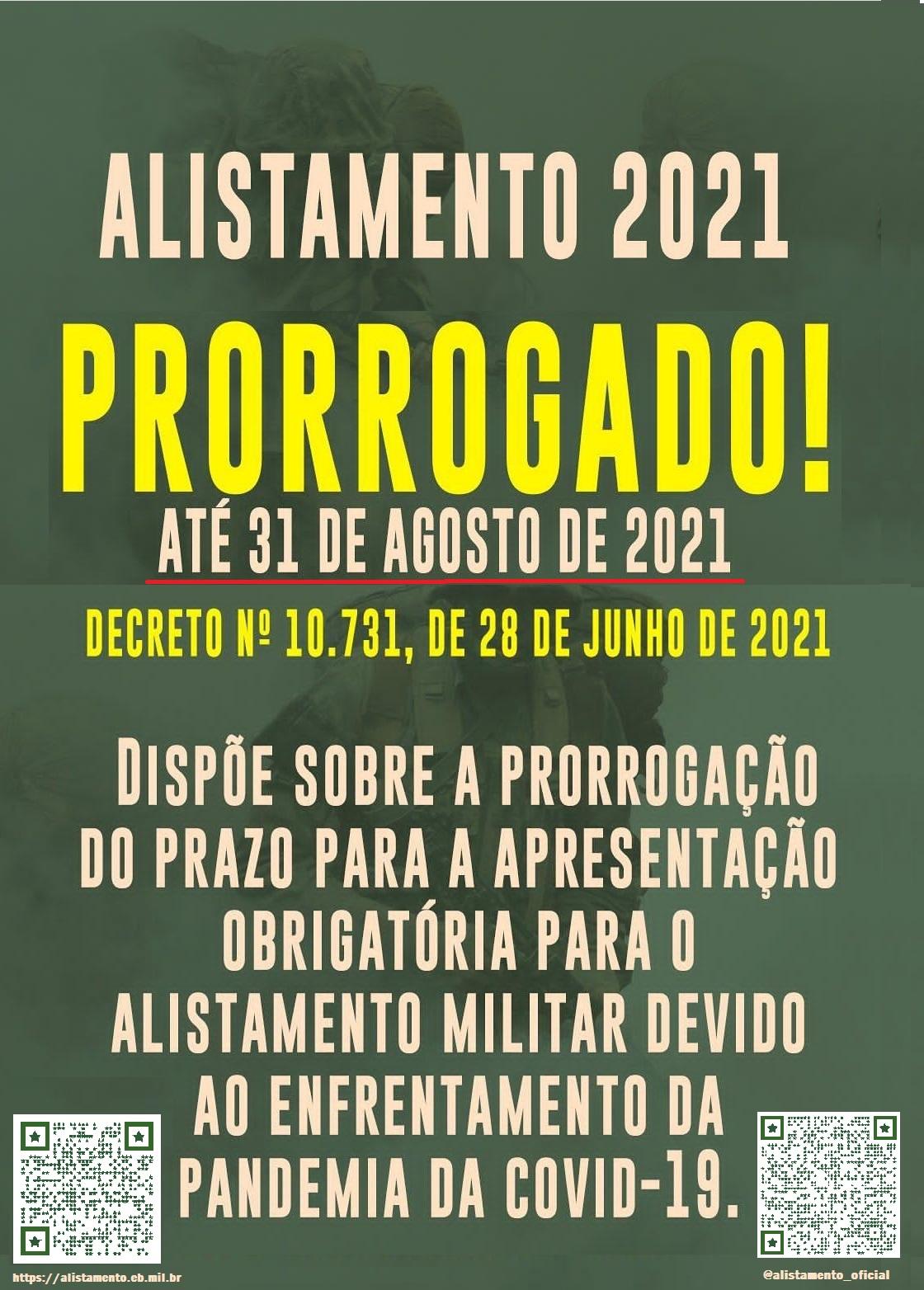 PRORROGACAO ALISTAMENTO 2021